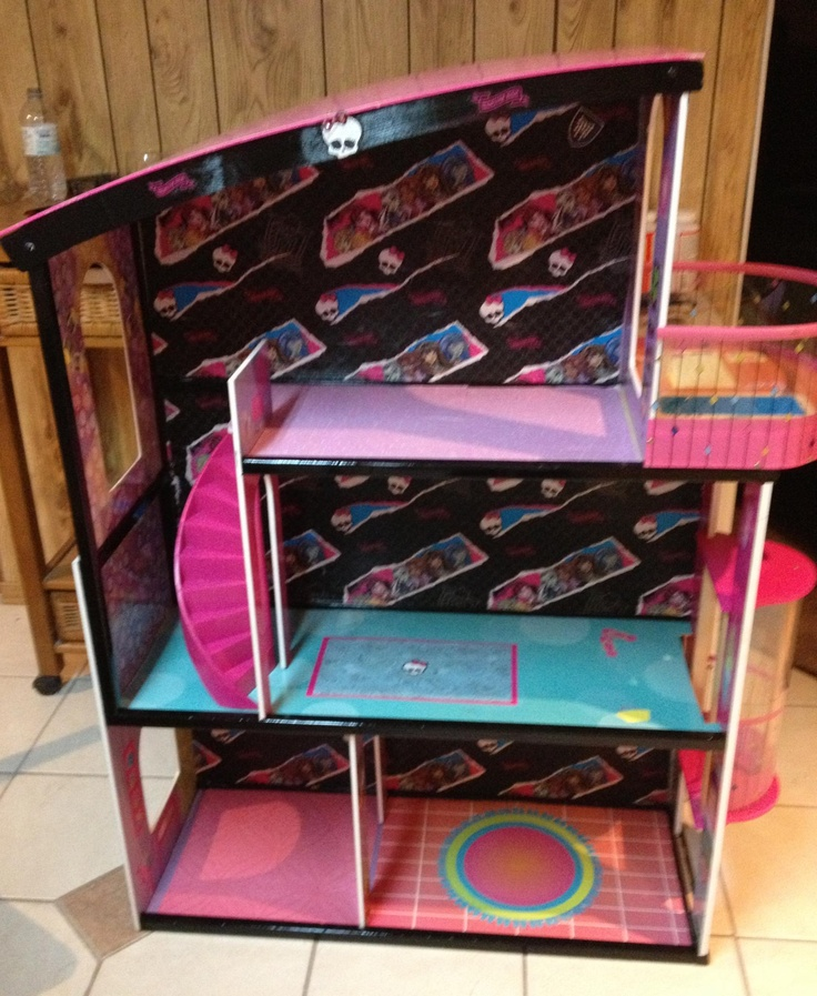Reinvent Barbie House Into Monster High Doll House. Did It For My  Grandaughter Using Wrapping