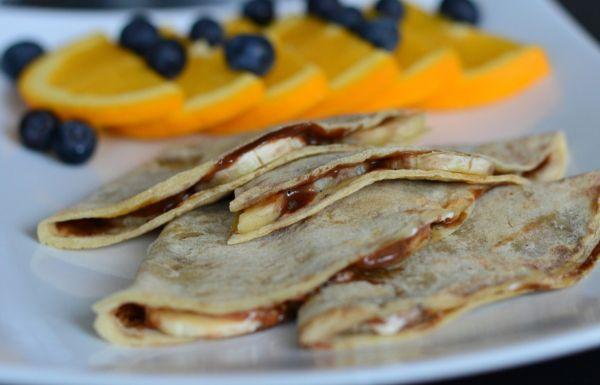 """""""Quesadillas"""" fylt med sjokolade og banan (Bakekona)"""