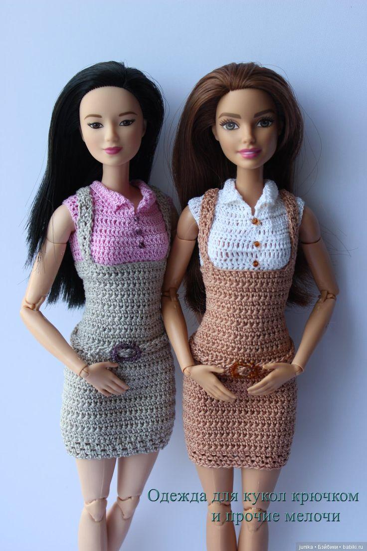 МК Офисный сарафан для Барби крючком / Вязание для кукол ...