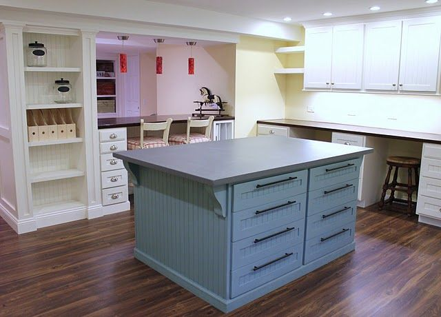 Wow!  What a scraproom!: Crafts Area, Crafts Rooms, Scrapbook Rooms, Rooms Ideas, Islands, Sewing Rooms, Basements, Cut Tables, Craft Rooms