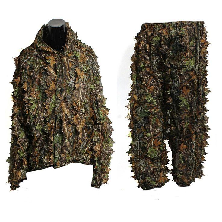 Lá Ghillie Suit Woodland Camo Ngụy Trang Quần Áo 3D Jungle Hunting Miễn Phí Kích Thước