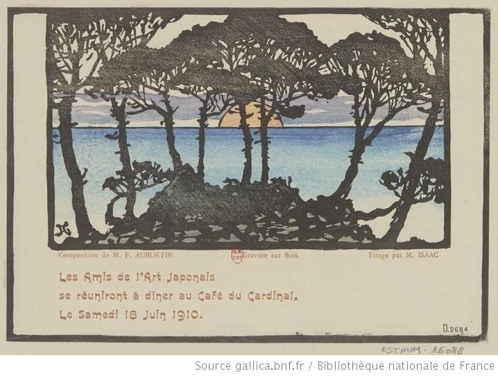 Les Amis de l'Art Japonais se réuniront à dîner au Café du Cardinal, Le Samedi 16 Juin 1910. : [carton d'invitation, estampe] / Composition ...