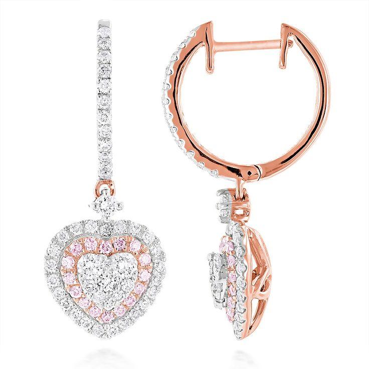 Diamantohrringe Herz Pavee - 1.65 Karat Diamanten in 585er Rosegold von www.juwelierhausabt.de
