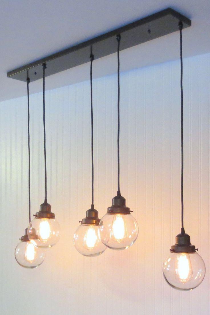 Biddeford II. CHANDELIER Pendant Lights 5-Light Globes - The Lamp Goods