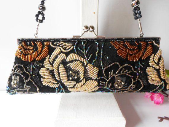 Bolso de noche con cuentas, bolso Vintage, bolso moldeado negro, bolso glamuroso, abalorios bolso de embrague, grano Vintage bolso EB-0459