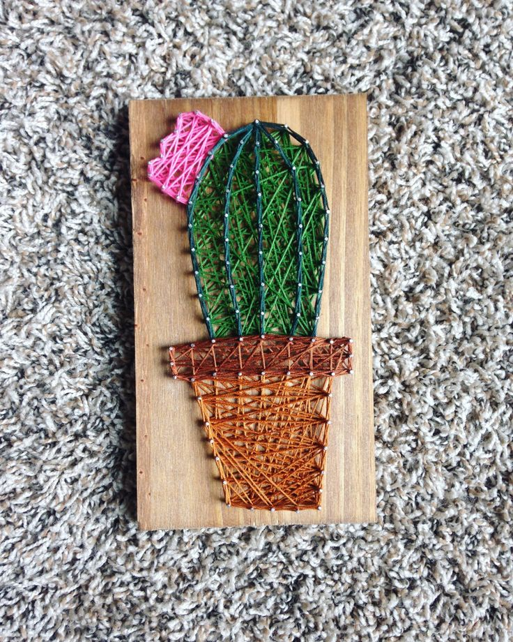 cactus string art cacti mini succulent  wall art home decor southwestern decorations nursery baby Rustic modern wood sign wooden green art by millyandoak on Etsy