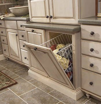 Tilt Out And Removable Vanity Hamper Cabinet (Merillat Classic).