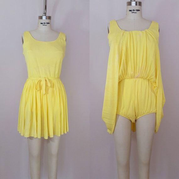 Vintage 1960s Lemon Yellow Skirted Swimsuit  Shop at www.etsy.com/Shop/ThriftyVintageKitten