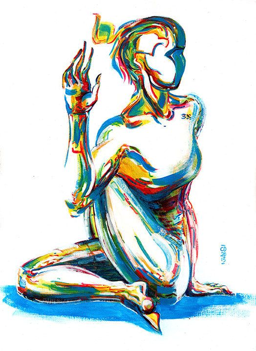 Yoga Art -- Acrylic Painting, Lord of the Fishes Pose