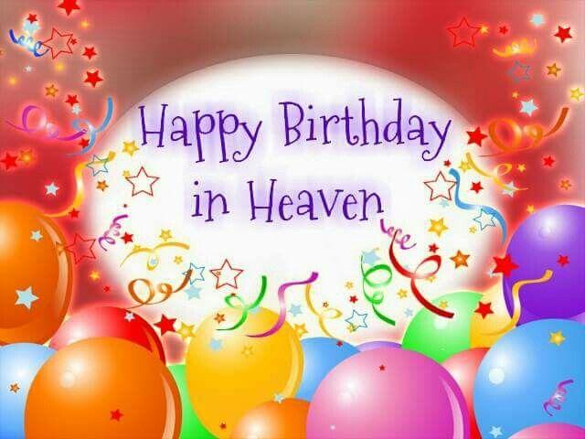 Happy Birthday In Heaven. Ribbons An Balloons.