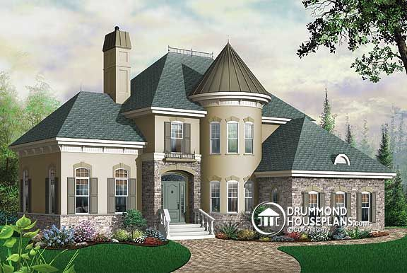 Drummond House Plan 3422 The Whittier features a turret which