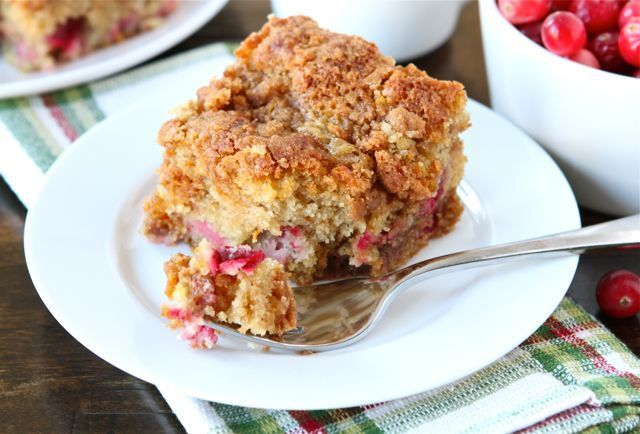 Cranberry Coffee Cake Recipe on twopeasandtheirpod.com Perfect for Christmas brunch!