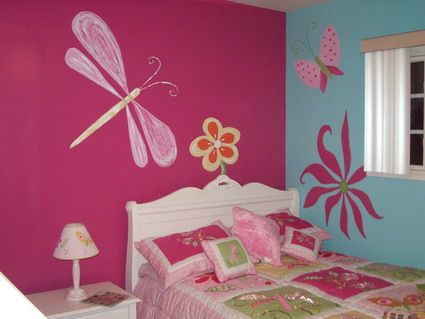 Beautiful pink butterfly flowers wall murals art for Girls bedroom paint ideas