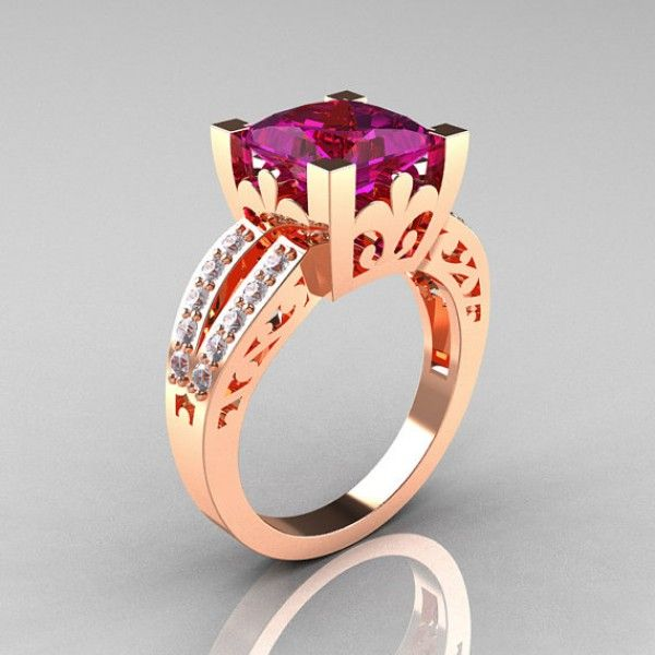 Alexandrine Solitaire Rose Gold Sterling Silver with Pink and Clear CZ Ring