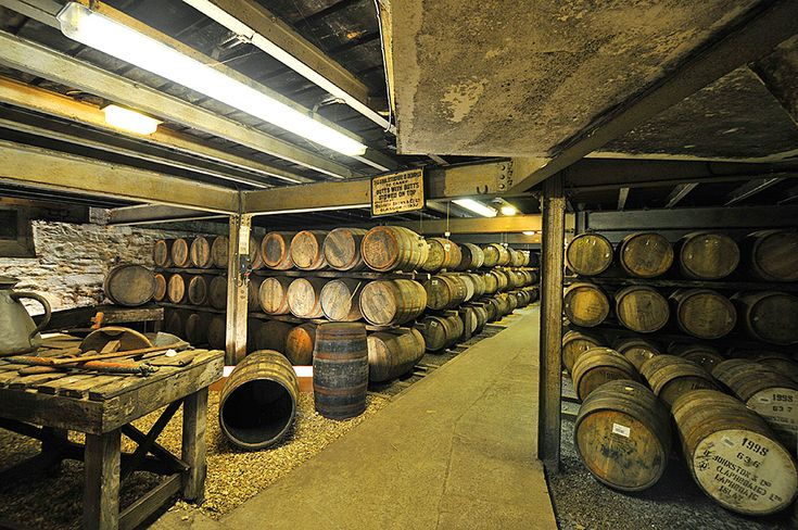 Inside Laphroaig distillery warehouse no1, Isle of Islay