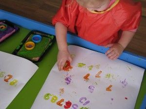 Painting with Homemade Number Stamps