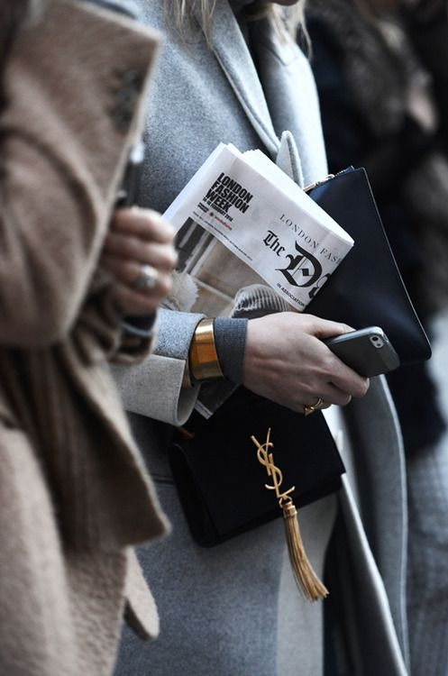 grey coat, clutch, ysl cross body bag & gold cuff #style #fashion #jewelry #streetstyle