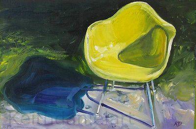 Eames  yellow Armchair Herman Miller - original oil painting print Keith Daniel