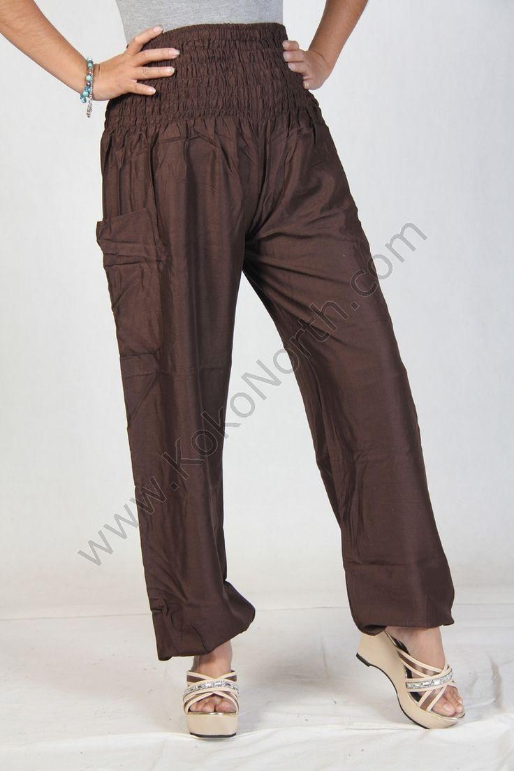 Harem pants high cut in brown