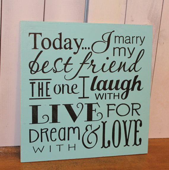 Today I Marry My Best Friend Sign/Wedding Sign/Subway Style/Reception Sign/Romantic Sign/U Choose Colors/Black/Blue