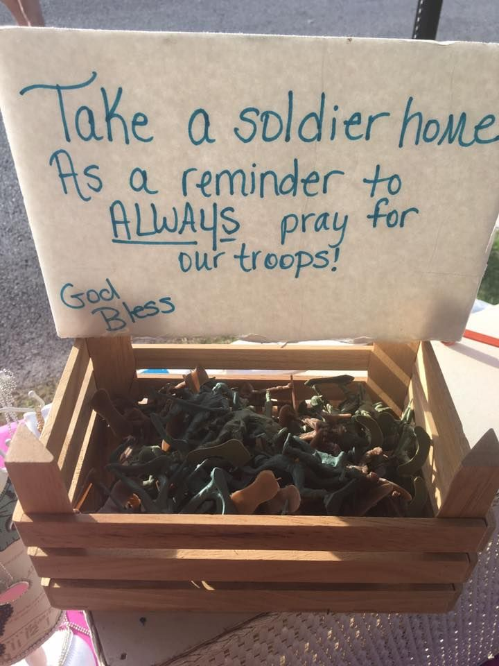 A box of plastic army men as freebies at the checkout stand at a craft fair or festival. I think I might spray paint them colors and throw a tiny decal of my logo on the bottom and would change the saying to thoughts instead of prayers