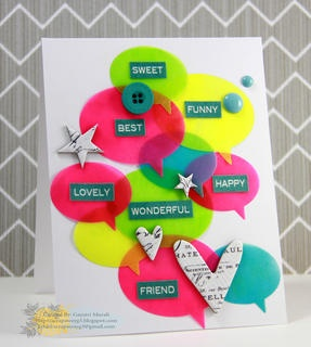 Neon Speech Bubbles Card by Gayatri Murali at Studio Calico