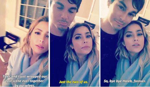Ashley Benson and Tyler Blackburn filming their last Haleb scene (October 17th, 2016)