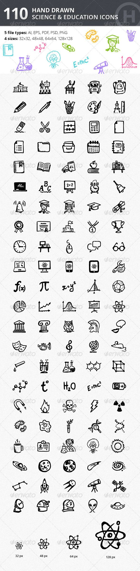 110 Hand-drawn Science & Education Icons Design Template  - Technology Icons Design Template PSD, Vector EPS, AI Illustrator. Download here: https://graphicriver.net/item/110-handdrawn-science-education-icons/5089439?ref=yinkira