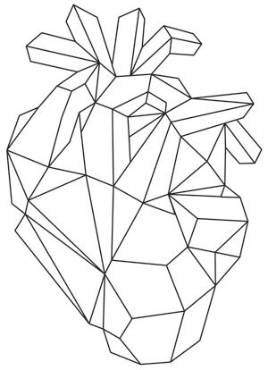 Geometric shapes give a gem-like look to this anatomical heart design. Downloads as a PDF. Use pattern transfer paper to trace design for hand-stitching.