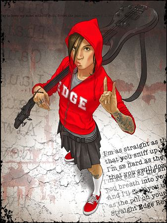 Rocker chick in a red hoodie done in a comic book style by Pawel Zawislak