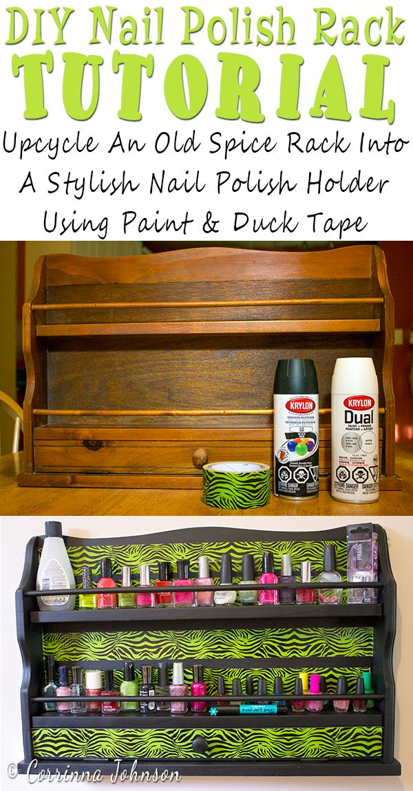 An easy DIY tutorial on how to upcycle a spice rack into a cool nail polish rack using spray paint and patterned duct tape.