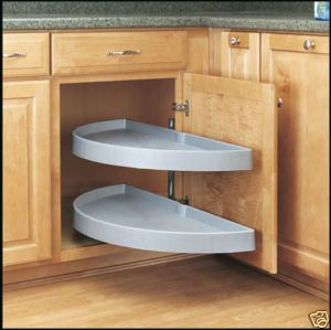"Interesting 'Lazy Susan"" idea for the blind corner cabinet."