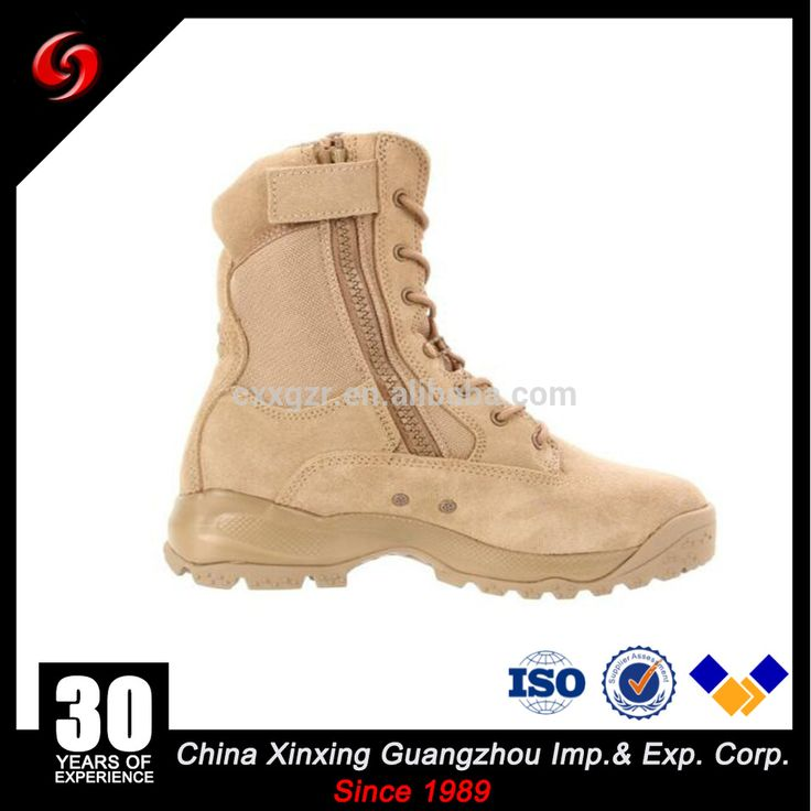 Anti-rubber New style Khaki suede cow leather army tactical military desert boots