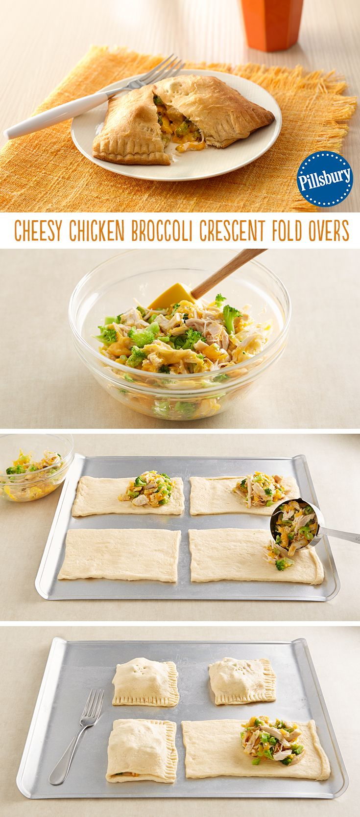 No need to hide all the nutritious ingredients in these pockets when they're surround by warm and flaky crescent dough! Weeknight dinner is super easy with this recipe.