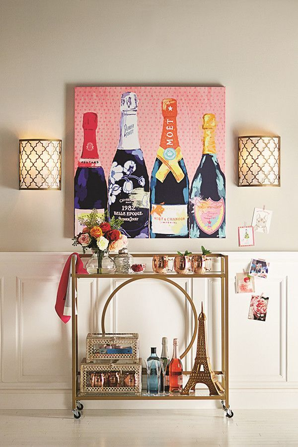 gold glam bar cart with parisian accents would be perfect for rh pinterest cl