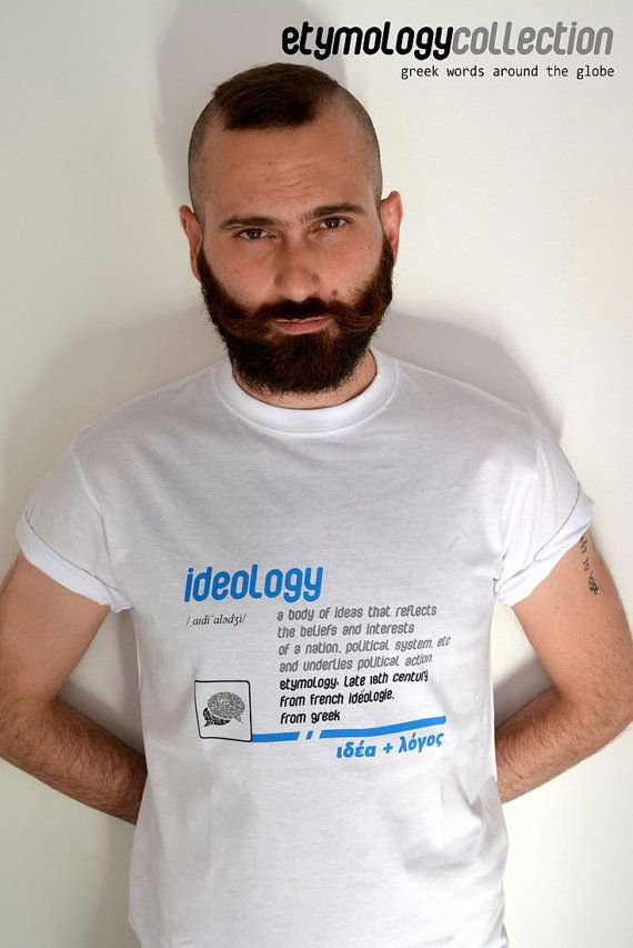 men's t-shirt ideology / greek eymology by etymologydesign on Etsy