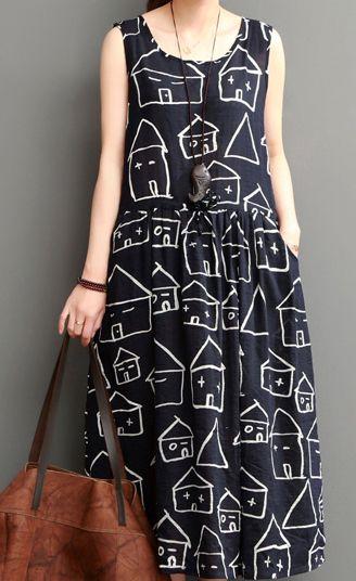 Smiling house black cotton sundresses plus size casual maxi dress sleeveless