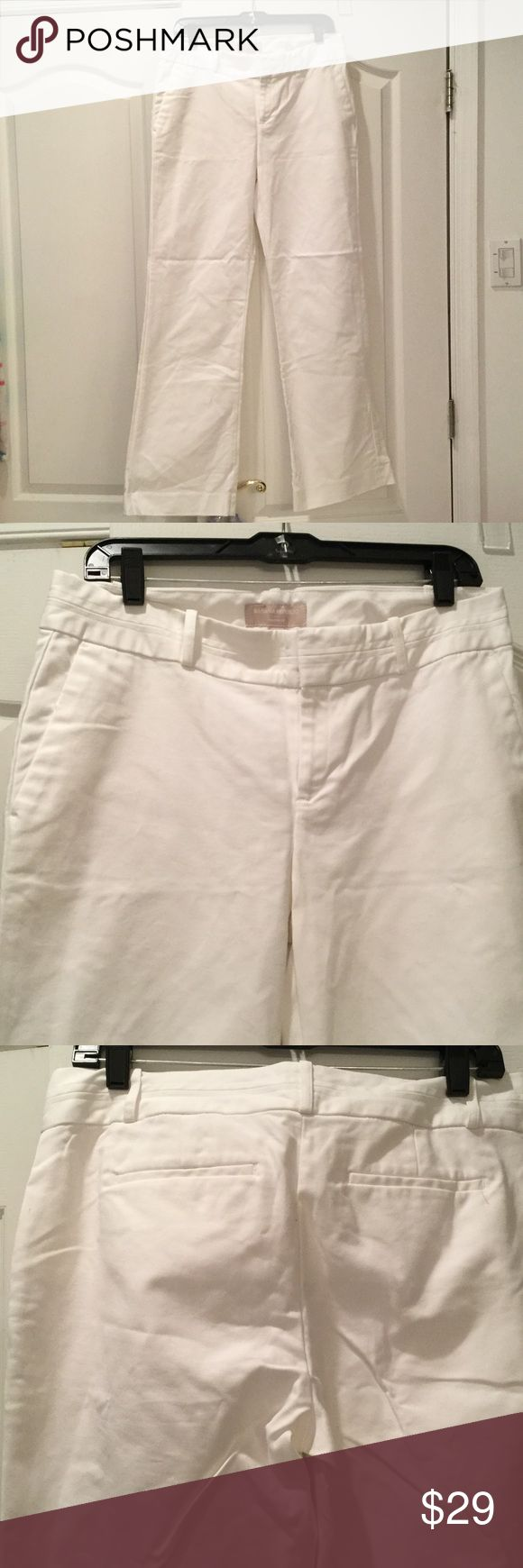Banana Republic Martin style  white pants 10 Banana republic Martin style white cotton stretch pant 10. Never worn and nice bright white. Spandex will keep these pants looking shapely all day long...nice cotton that is not flimsy Banana Republic Pants Trousers