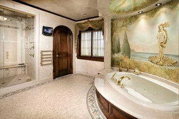 Botticelli Mural in Master Bathroom - mediterranean - bathroom - new york - Electronics Design Group, Inc.