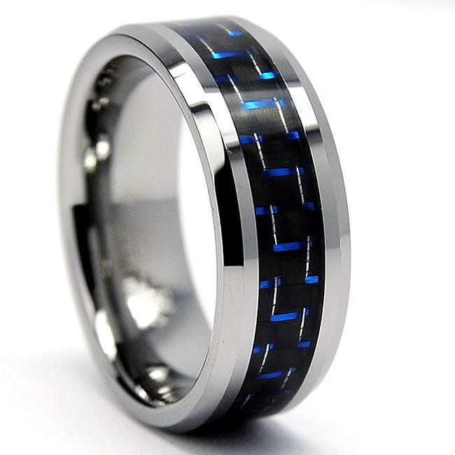 This Unusual Black Tungsten Men S Ring Features A Blue Carbon Fiber Inlay For An Updated Trendy Look The High Polish Heavyw My Wedding 5 24 14 3