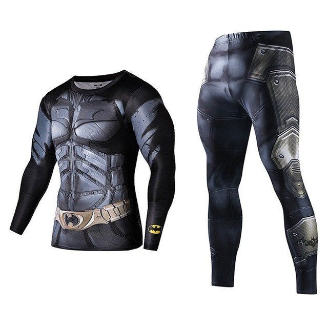 Men Fitness Clothing Set Fashion Superman Tracksuit Set Plus Size Brand Clothing Sportswear Sets 3D Print Full Compression Sets MMA Rashguard