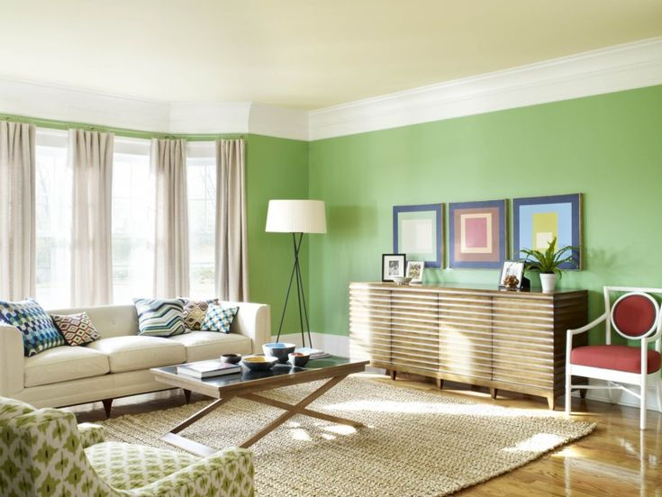 Catchy Living Room Paint Idea With Green Wall Color And Beige Window Curtains Also Sofa Gorgeous Armless Chair Wooden Coffee Table