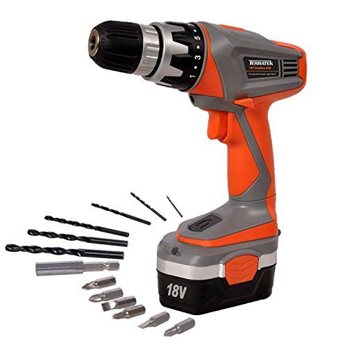 Terratek 18v Cordless Drill Driver Sensational Electric Screwdriver Set Complete With 13pc Drill And Bit Set