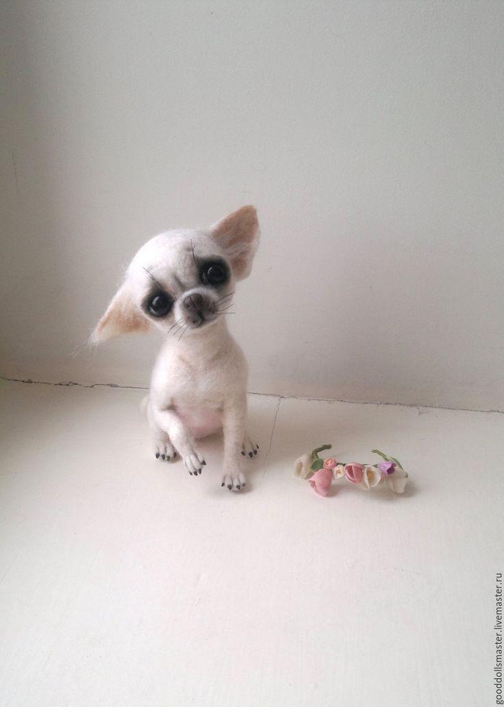 Купить Чишечка Джульетта с веночком ..:) - белый, чихуахуа, купить собачку, валяная чихуа