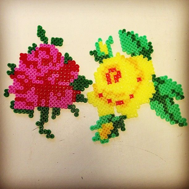 Red and yellow roses hama perler beads by pagey163