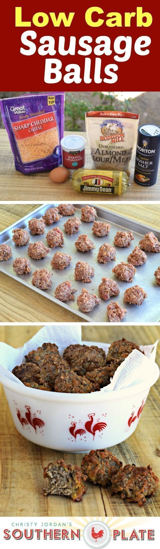 Low Carb Sausage Balls! Recipe from southern plate. #recipes #easy #lowcarb #appetizers #sausageballs