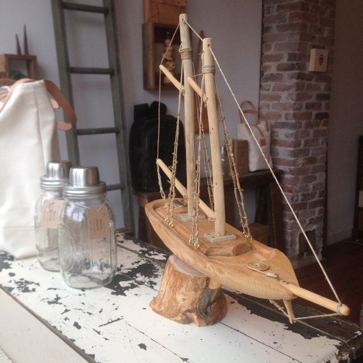 Handcrafted wooden schooner model by our bud, Bill, from the Vancouver Tool Library. @vantoollibrary #handcrafted #supportlocal #boatbuilding #modelship