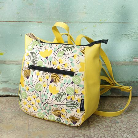 "Backpack ""Beautiful Spring"" You can feel it in the air that spring has come! Required backpack, which will accompany you on your spring walks. A beautiful backpack with saffron yellow leather and a collage in shades of beige, yellow and peanut, that will  increase your optimism."