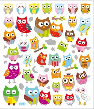 Sticker King-Flat Stickers-Cute Owls      Item Number: SK-FS-216091  Your Price: $1.29