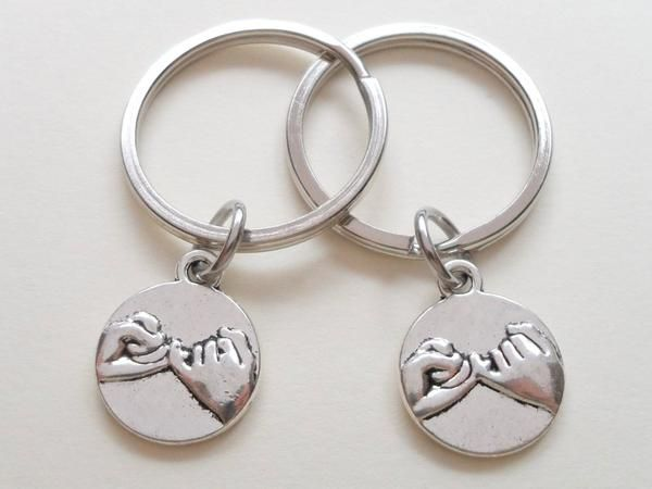 Anniversary Gift | Double Pinky Promise Charm Keychains